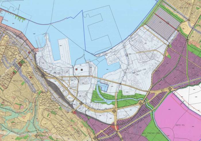 """תשריט תכנית המתאר ח""""פ/2000, ממנה הושמטו שטחים רבים כדי לסלול את הדרך להקמת נמל המפרץ"""