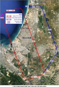 תרשים הקפת שדה חיפה העתידי עבור מטוסי נוסעים מקטגוריה B/C