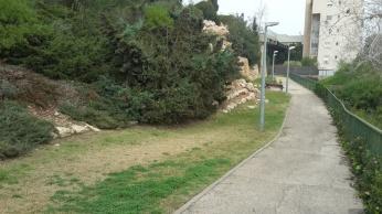 הגן הציבורי – בלי מתקנים, בלי הצללה (היתה בעבר אך ניזוקה, ומעולם לא תוקנה)