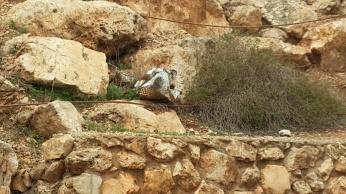 מעל לשנתיים עומד פח תקוע בסלעים שמעל לספסלי הישיבה, ואף אחד לא מנקה אותו.